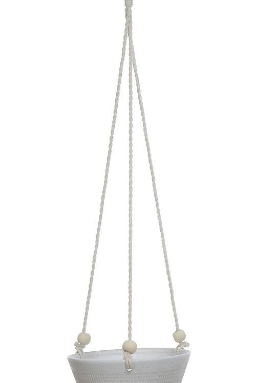 Large Matte White Embossed Stoneware Hanging Planter