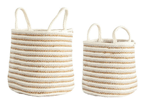 Braided Cotton & Jute Baskets (Set of 2 Sizes)