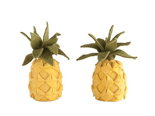 Handmade Yellow Wool Felt Pineapple Bookends (Set of 2 Pieces)