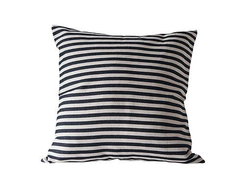 Square Cotton Woven Pillow with Black & Cream Stripes