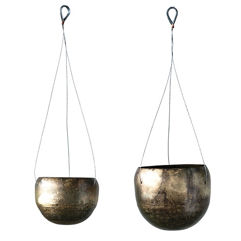 Antique Brass Hanging Planters (Set of 2 Sizes)