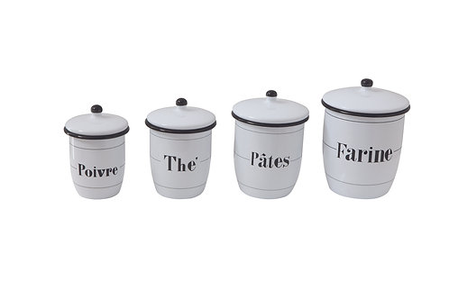 Enameled White Canisters with French Writing & Black Rims (Set of 4 Sizes)