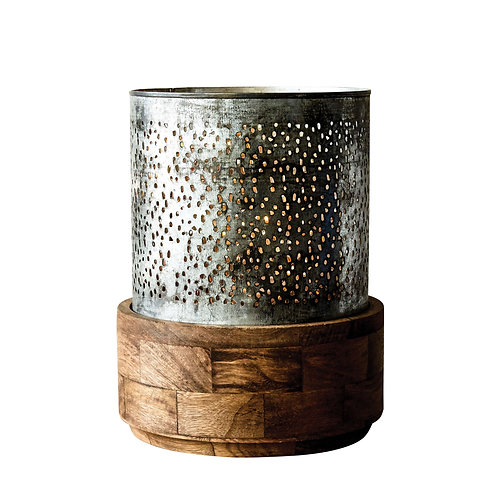 Punched Metal Hurricane with Mango Wood Base