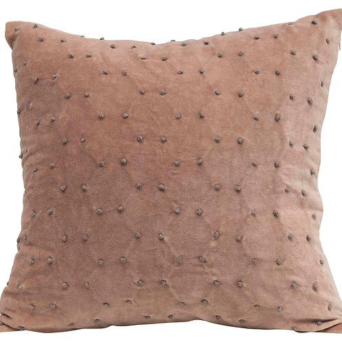 Reversible Square Polka Dot Cotton Velvet Pillow with Solid Back