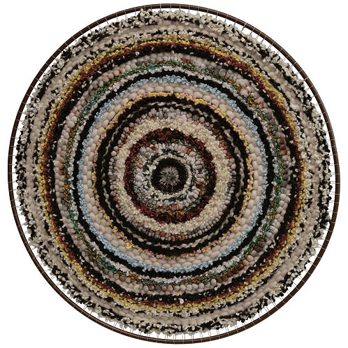 """36"""" Round Hand-Woven Wool & Cotton Blend Wall Decor in Metal Frame"""
