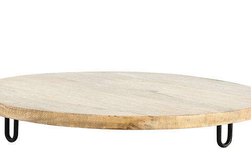 Mango Wood Pedestal with Metal Feet