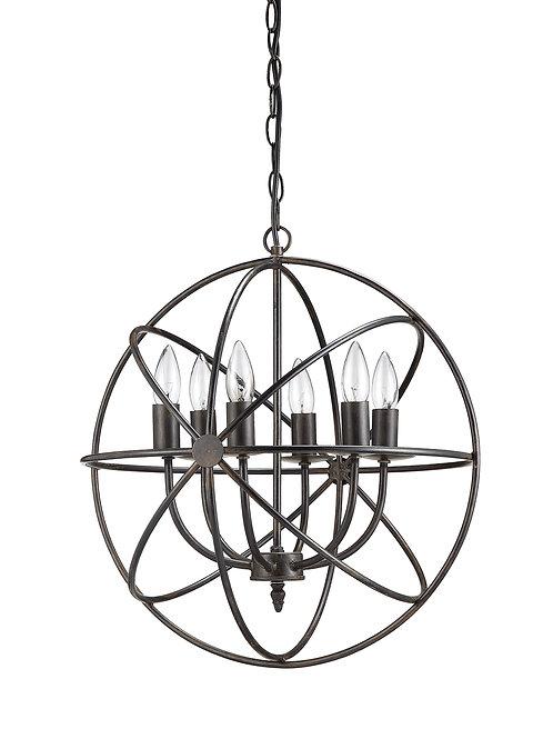 Orbital Metal Hanging Chandelier with 6 Lights