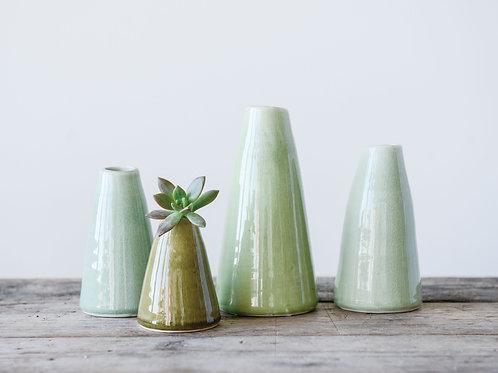 Pistachio Green Terracotta Vases (Set of 4 Sizes)