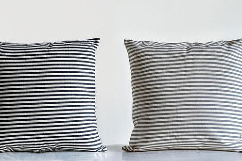 Square Grey & White Striped Cotton Pillow