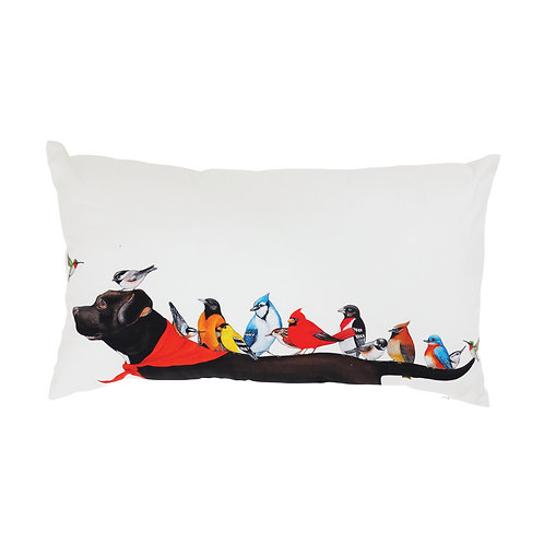 Multicolor Cotton Pillow with Birds on a Black Dog