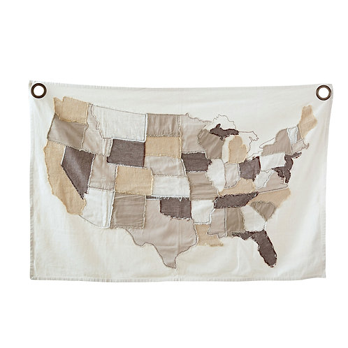 USA Map Stitched Wall Decor