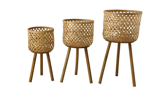 Woven Bamboo Floor Baskets with Wood Legs (Set of 3 Sizes)