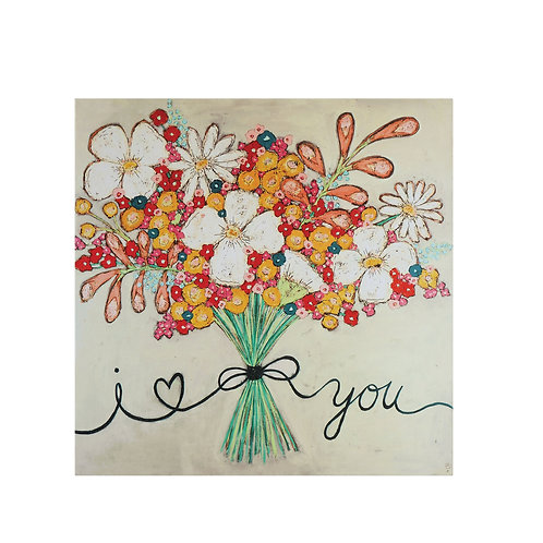 """I love You"" Floral Bouquet Canvas Wrapped Wall Decor"