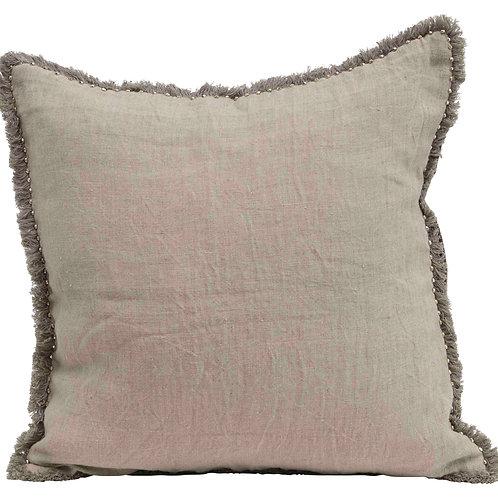 Reversible Square Cotton Velvet & Linen Pillow with Fringe