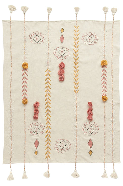 Embroidered Cream Cotton Throw