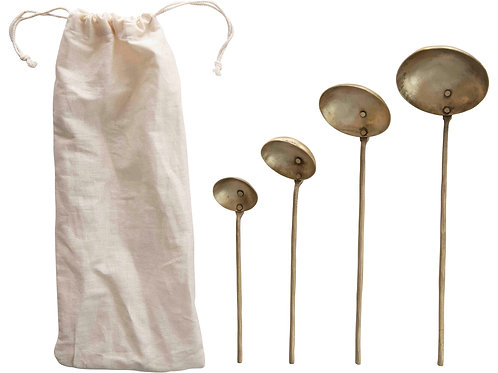 Brass Ladles with Round Handles & Hammered Texture (Set of 4 Sizes)
