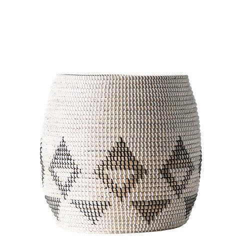 Sturdy White, Black & Brown Natural Seagrass Basket