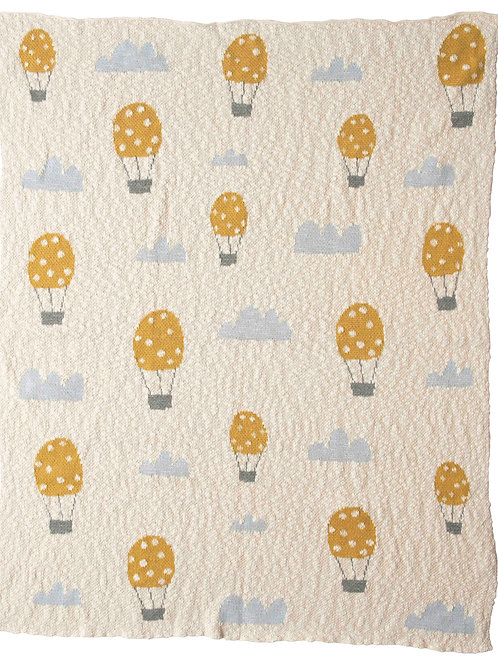 "40""L x 32""W Cotton Knit Baby Blanket with Hot Air Balloon"