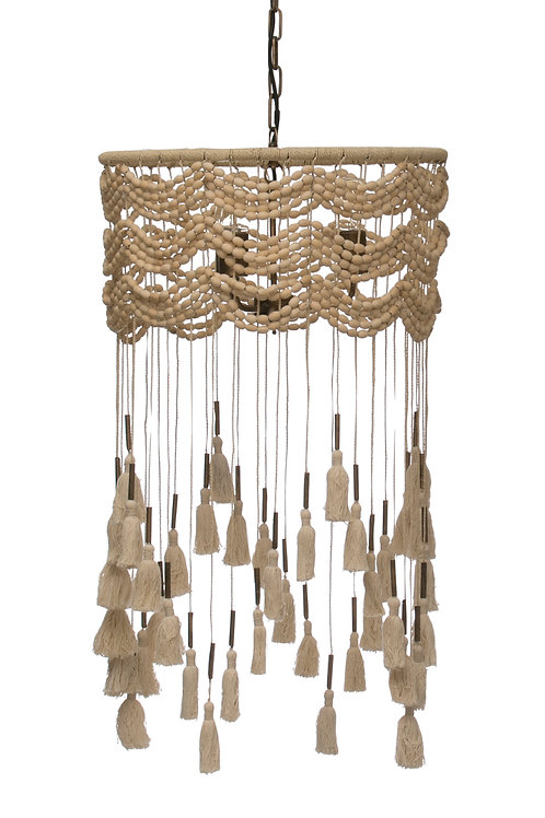 3-Light Cotton, Metal & Draped Wood Bead Pendant Light (Hardwire Only)