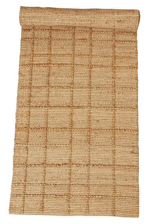 2.5' x 8' Handwoven Jute Blend Runner Rug with Plaid Pattern