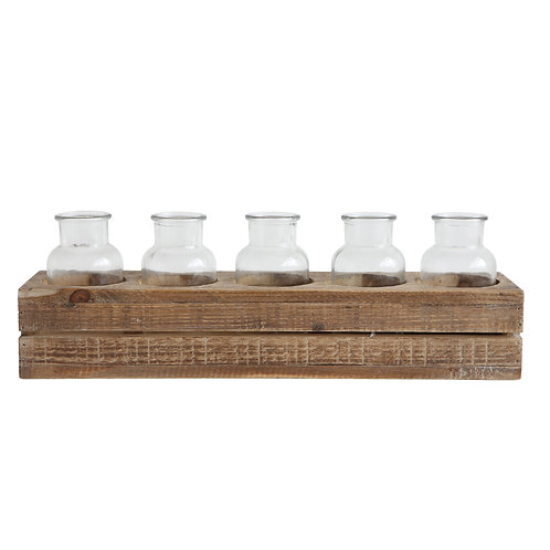 Wood Crate With 5 Glass Bottles (Set of 6 Pieces)
