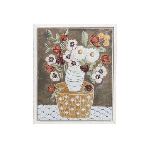 Brown & White Flowers in Vase Wall Decor with Distressed White Wood Frame