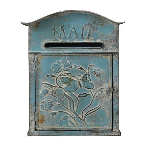 "Distressed Blue Embossed Tin ""Mail"" Box"