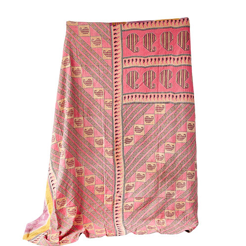 Cotton Multicolor Vintage Kantha Quilt Coverlet (each one will vary)