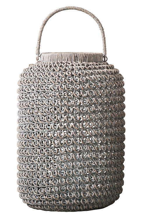 Large Whitewashed Woven Water Hyacinth Lantern with Glass Insert & Handle