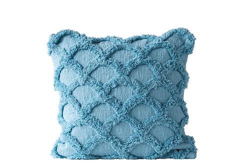 Square Cotton Chenille Pillow, Light Blue