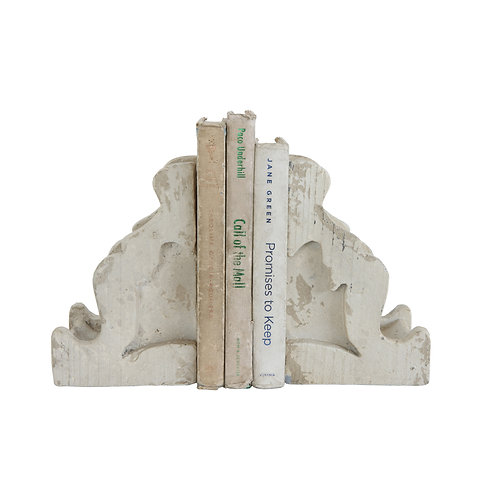 Distressed White Corbel Shaped Bookends (Set of 2 Pieces)