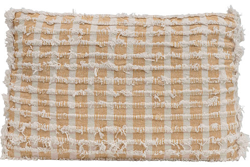 Rectangle Cotton Blend Striped Pillow with Decorative Fringe