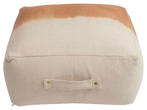"10""H Dip Dyed Cotton Canvas Pouf with Handle"