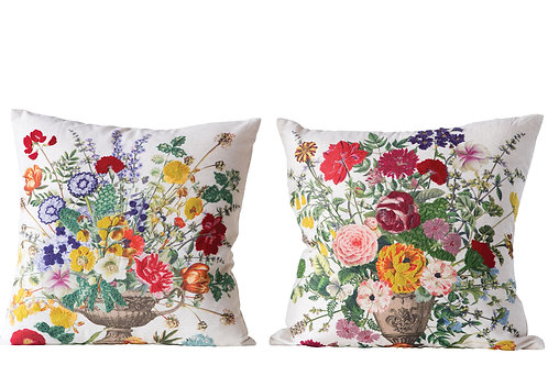 Square Cotton Blend Pillow with Embroidered Flowers (2 styles)