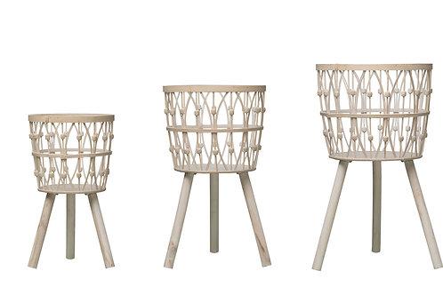 """19.25"""", 20.5"""" & 25.5"""" Bamboo Wood Baskets (Set of 3 Sizes)"""