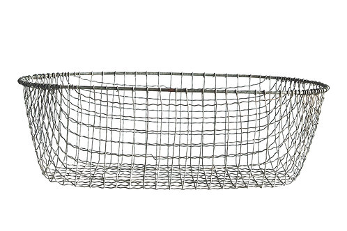 Handmade Large Oval Wire Basket