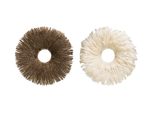 Round Feather & Bamboo Wall Decor (Set of 2 Colors)