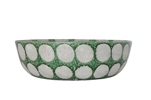 Decorative Distressed Green Terracotta Bowl with Large White Dots