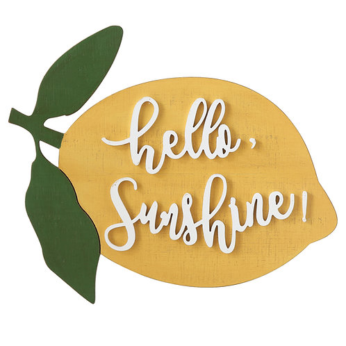 """Hello Sunshine"" Lemon Shaped Wood Wall Decor"