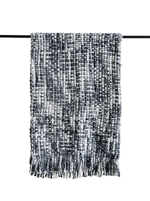 Chunky Knit Grey & White Throw with Fringe