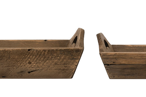 Rectangle Fir Wood Trays with Handles (Set of 2 Sizes)