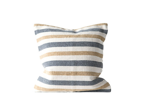 Grey & Sand Striped Square Cotton Woven Pillow