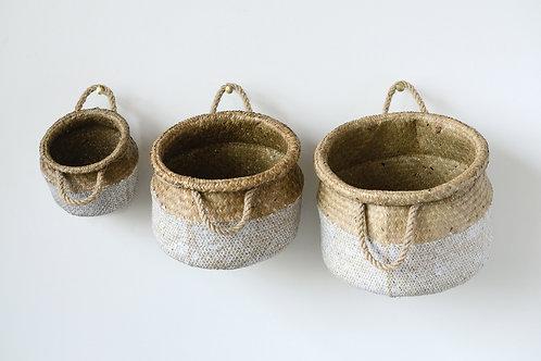White & Beige Seagrass Baskets (Set of 3 Sizes)