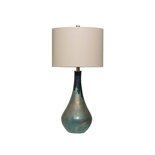 Glass Table Lamp with Opal Finish & Linen Shade