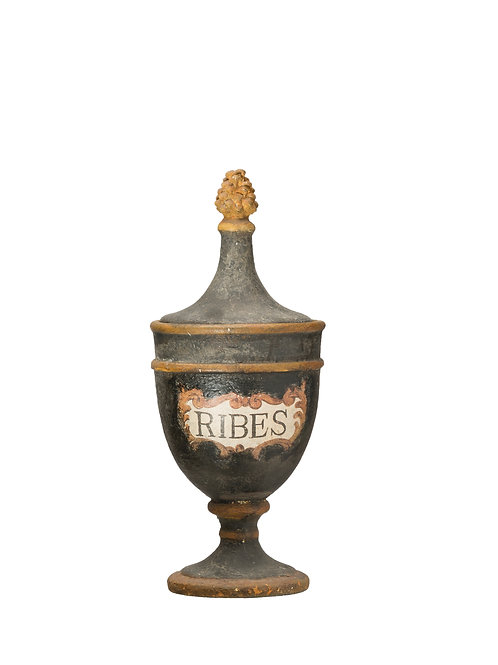 """Vintage Reproduction """"Ribes"""" Black Magnesia Pharmacy Urn"""