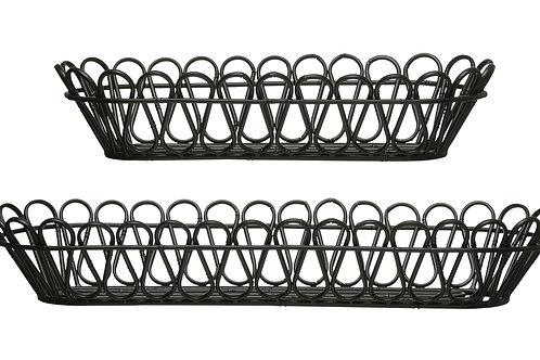 "23.75"" & 31.25"" Oval Decorative Metal Baskets (Set of 2 Sizes)"