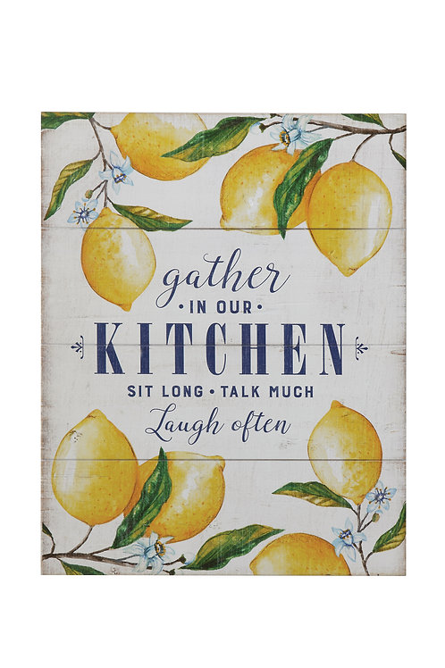 """Gather in Our Kitchen"" Wood Wall Decor with Lemons"