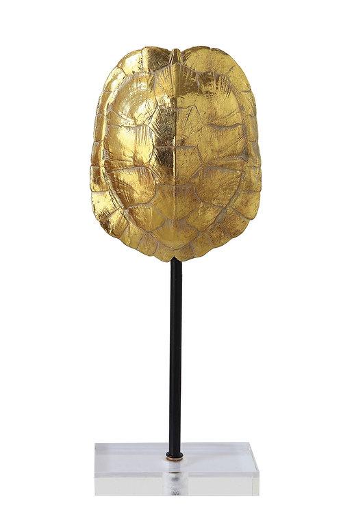 Large Gold Resin Turtle Shell on Pole & Acrylic Base