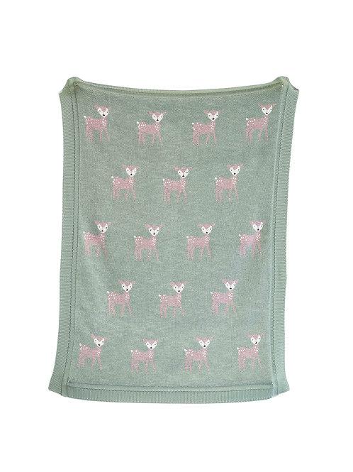 Green Cotton Knit Deer Blanket