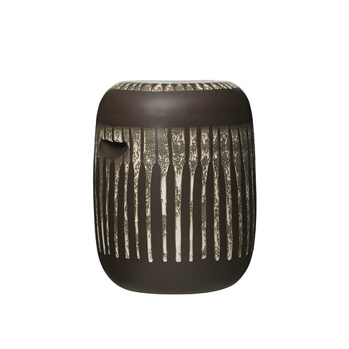 Barrel Shaped Stoneware Side Table/Stool with Geometric Shapes